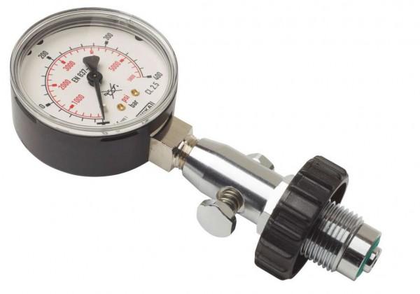 OMS Flaschenprüfmanometer 300 Bar mit Druckentlastung